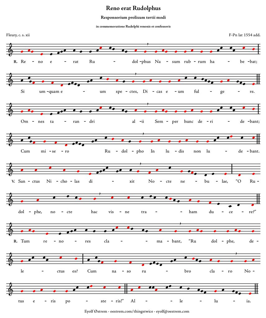 Reno erat Rudolphus, modern notation with melody tones marked in red